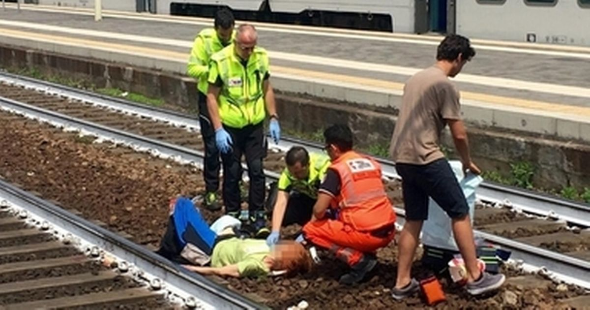 Man poses for selfie at railway station after woman is hit by train