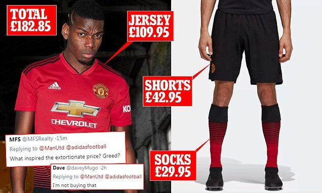 manchester united home kit price