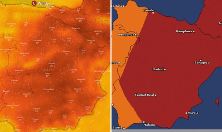 Big Map Of Spain.Spain Weather Forecast Spain Heatwave Mapped As Temperatures Soar
